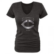 Wholesale Cheap Women's Minnesota Twins Fanatics Apparel Platinum Collection V-Neck Tri-Blend T-Shirt Black