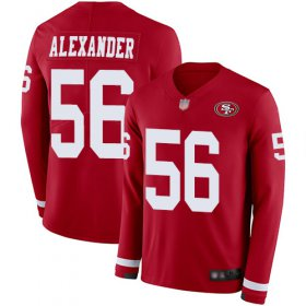 Wholesale Cheap Nike 49ers #56 Kwon Alexander Red Team Color Youth Stitched NFL Limited Therma Long Sleeve Jersey