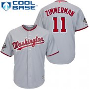 Wholesale Cheap Nationals #11 Ryan Zimmerman Grey Cool Base 2019 World Series Champions Stitched Youth MLB Jersey