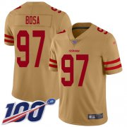 Wholesale Cheap Nike 49ers #97 Nick Bosa Gold Men's Stitched NFL Limited Inverted Legend 100th Season Jersey