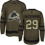 Wholesale Cheap Adidas Avalanche #29 Nathan MacKinnon Green Salute to Service Stitched Youth NHL Jersey