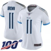 Wholesale Cheap Nike Titans #11 A.J. Brown White Women's Stitched NFL 100th Season Vapor Limited Jersey