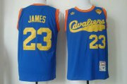 Wholesale Cheap Men's Cleveland Cavaliers #23 LeBron James 2015 The Finals 2009 Blue Hardwood Classics Soul Swingman Throwback Jersey