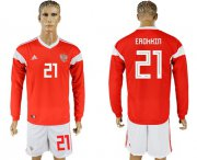 Wholesale Cheap Russia #21 Erokhin Red Home Long Sleeves Soccer Country Jersey