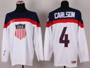 Wholesale Cheap 2014 Olympic Team USA #4 John Carlson White Stitched NHL Jersey