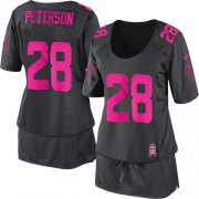 Wholesale Cheap Nike Vikings #28 Adrian Peterson Dark Grey Women's Breast Cancer Awareness Stitched NFL Elite Jersey