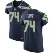 Wholesale Cheap Nike Seahawks #74 George Fant Steel Blue Team Color Men's Stitched NFL Vapor Untouchable Elite Jersey