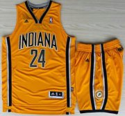 Wholesale Cheap Indiana Pacers 24 Paul George Yellow Revolution 30 Swingman NBA Jerseys Shorts Suits