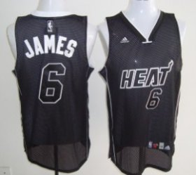 Wholesale Cheap Miami Heat #6 LeBron James All Black With White Swingman Jersey