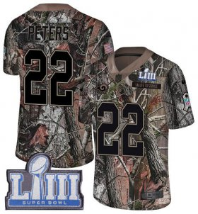 Wholesale Cheap Nike Rams #22 Marcus Peters Camo Super Bowl LIII Bound Youth Stitched NFL Limited Rush Realtree Jersey