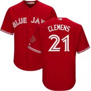 Wholesale Cheap Blue Jays #21 Roger Clemens Red Cool Base Canada Day Stitched Youth MLB Jersey