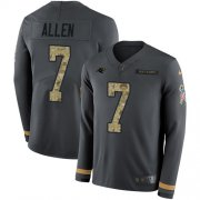 Wholesale Cheap Nike Panthers #7 Kyle Allen Anthracite Salute to Service Youth Stitched NFL Limited Therma Long Sleeve Jersey