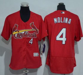 Wholesale Cheap Cardinals #4 Yadier Molina Red Flexbase Authentic Women\'s Stitched MLB Jersey