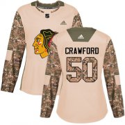 Wholesale Cheap Adidas Blackhawks #50 Corey Crawford Camo Authentic 2017 Veterans Day Women's Stitched NHL Jersey