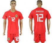 Wholesale Cheap Sweden #12 Johnsson Red Goalkeeper Soccer Country Jersey