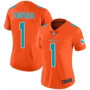 Wholesale Cheap Nike Dolphins #1 Tua Tagovailoa Orange Women's Stitched NFL Limited Inverted Legend Jersey