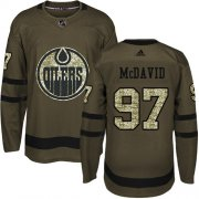 Wholesale Cheap Adidas Oilers #97 Connor McDavid Green Salute to Service Stitched Youth NHL Jersey