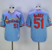 Wholesale Cheap Cardinals #51 Willie McGee Blue Cooperstown Throwback Stitched MLB Jersey