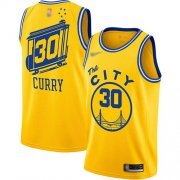 Wholesale Cheap Warriors #30 Stephen Curry Gold Basketball Swingman Hardwood The City Classic Edition Jersey