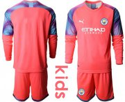 Wholesale Cheap Manchester City Blank Pink Goalkeeper Long Sleeves Kid Soccer Club Jersey
