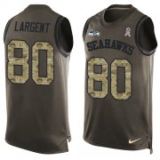 Wholesale Cheap Nike Seahawks #80 Steve Largent Green Men's Stitched NFL Limited Salute To Service Tank Top Jersey