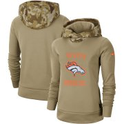 Wholesale Cheap Women's Denver Broncos Nike Khaki 2019 Salute to Service Therma Pullover Hoodie