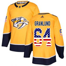 Wholesale Cheap Adidas Predators #64 Mikael Granlund Yellow Home Authentic USA Flag Stitched NHL Jersey