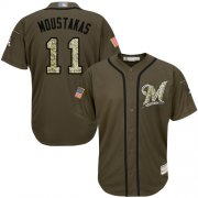 Wholesale Cheap Brewers #11 Mike Moustakas Green Salute to Service Stitched MLB Jersey