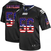 Wholesale Cheap Nike Giants #56 Lawrence Taylor Black Men's Stitched NFL Elite USA Flag Fashion Jersey