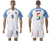 Wholesale Cheap USA #5 Besler White Rainbow Soccer Country Jersey