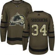 Wholesale Cheap Adidas Avalanche #34 Carl Soderberg Green Salute to Service Stitched NHL Jersey