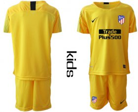 Wholesale Cheap Atletico Madrid Blank Yellow Goalkeeper Kid Soccer Club Jersey