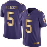 Wholesale Cheap Nike Ravens #5 Joe Flacco Purple Men's Stitched NFL Limited Gold Rush Jersey