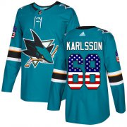 Wholesale Cheap Adidas Sharks #68 Melker Karlsson Teal Home Authentic USA Flag Stitched Youth NHL Jersey