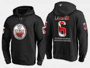 Wholesale Cheap Oilers #6 Adam Larsson NHL Banner Wave Usa Flag Black Hoodie
