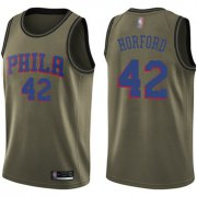 Wholesale Cheap 76ers #42 Al Horford Green Basketball Swingman Salute to Service Jersey