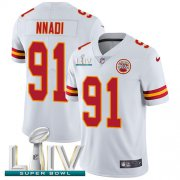 Wholesale Cheap Nike Chiefs #91 Derrick Nnadi White Super Bowl LIV 2020 Youth Stitched NFL Vapor Untouchable Limited Jersey