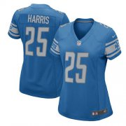 Wholesale Cheap Nike Lions #25 Will Harris Light Blue Team Color Women's Stitched NFL Elite Jersey