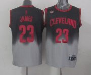 Wholesale Cheap Cleveland Cavaliers #23 LeBron James Black/Gray Fadeaway Fashion Jersey