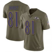 Wholesale Cheap Nike Ravens #81 Hayden Hurst Olive Men's Stitched NFL Limited 2017 Salute To Service Jersey