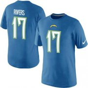 Wholesale Cheap Nike Los Angeles Chargers #17 Phillip Rivers Pride Name & Number NFL T-Shirt Electric Blue