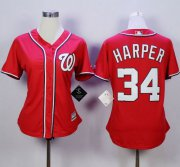 Wholesale Cheap Nationals #34 Bryce Harper Red Alternate 1 Women's Stitched MLB Jersey