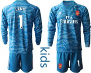 Wholesale Cheap Arsenal #1 Leno Light Blue Goalkeeper Long Sleeves Kid Soccer Club Jersey