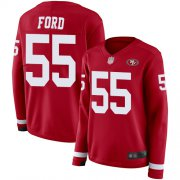 Wholesale Cheap Nike 49ers #55 Dee Ford Red Team Color Women's Stitched NFL Limited Therma Long Sleeve Jersey