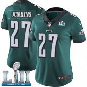 Wholesale Cheap Nike Eagles #27 Malcolm Jenkins Midnight Green Team Color Super Bowl LII Women's Stitched NFL Vapor Untouchable Limited Jersey