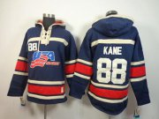 Wholesale Cheap Olympic Team USA #88 Patrick Kane Navy Blue Throwback Sawyer Hooded Sweatshirt Stitched NHL Jersey
