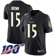 Wholesale Cheap Nike Ravens #15 Marquise Brown Black Alternate Men's Stitched NFL 100th Season Vapor Limited Jersey