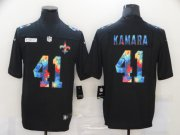 Wholesale Cheap Men's New Orleans Saints #41 Alvin Kamara Multi-Color Black 2020 NFL Crucial Catch Vapor Untouchable Nike Limited Jersey