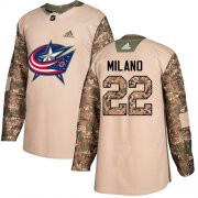 Wholesale Cheap Adidas Blue Jackets #22 Sonny Milano Camo Authentic 2017 Veterans Day Stitched Youth NHL Jersey