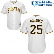 Wholesale Cheap Pirates #25 Gregory Polanco White Cool Base Stitched Youth MLB Jersey